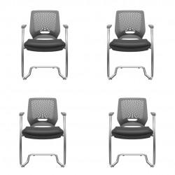 Kit com 4 cadeiras Beezi fixas cromadas